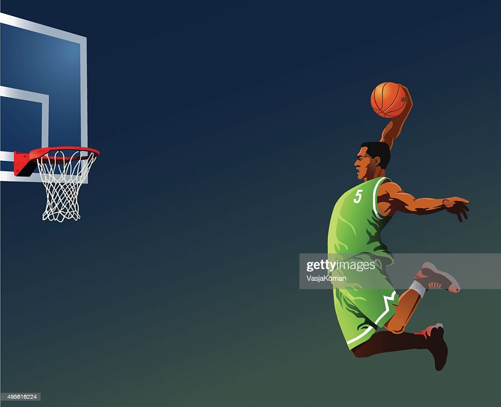 Basketball Player Slamdunking