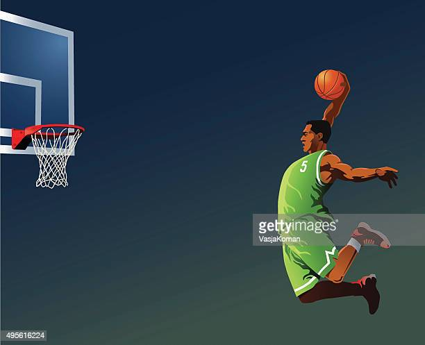 basketball player slamdunking - sportsperson stock illustrations