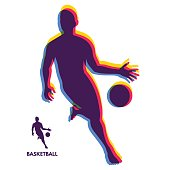 Basketball player standing and dribbling the ball. Sport Symbol. Vector Illustration.