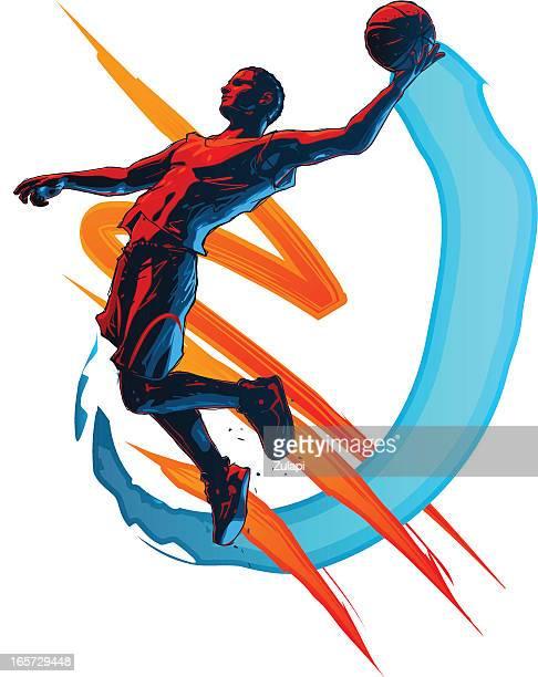 ilustraciones, imágenes clip art, dibujos animados e iconos de stock de jugador de baloncesto - jugador de baloncesto