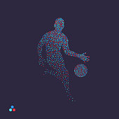 Basketball player with ball. Dotted silhouette of person. Vector illustration.