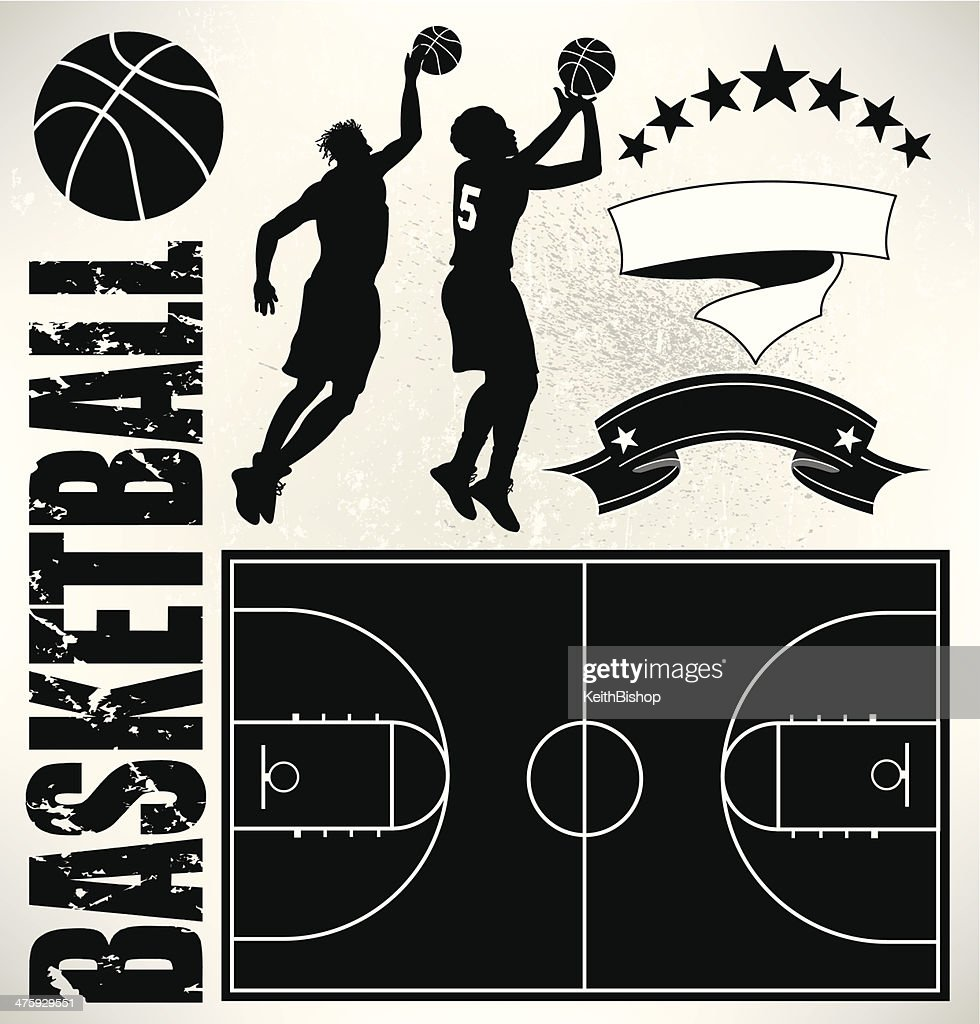 Basketball Players, Court and Ball : stock illustration