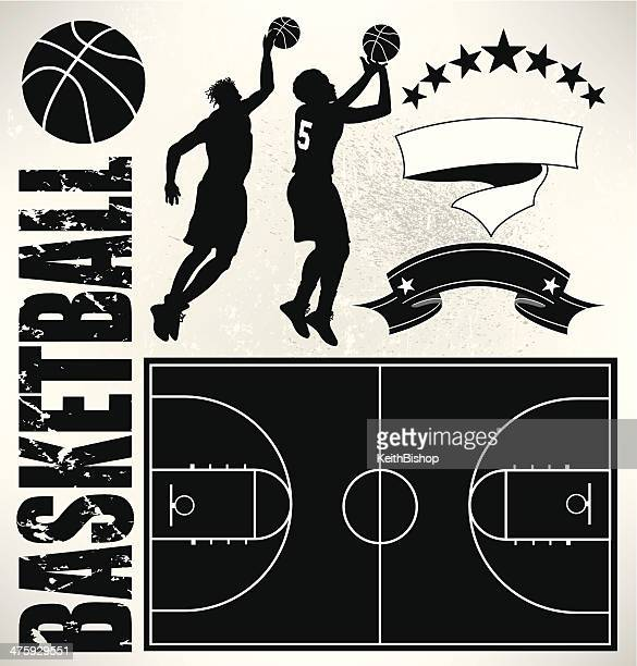 Basketball Players, Court and Ball