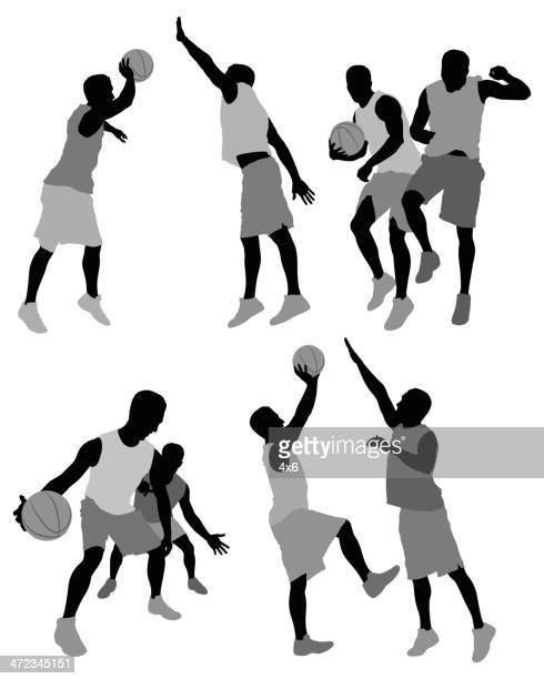 basketball players in action - sleeveless stock illustrations, clip art, cartoons, & icons