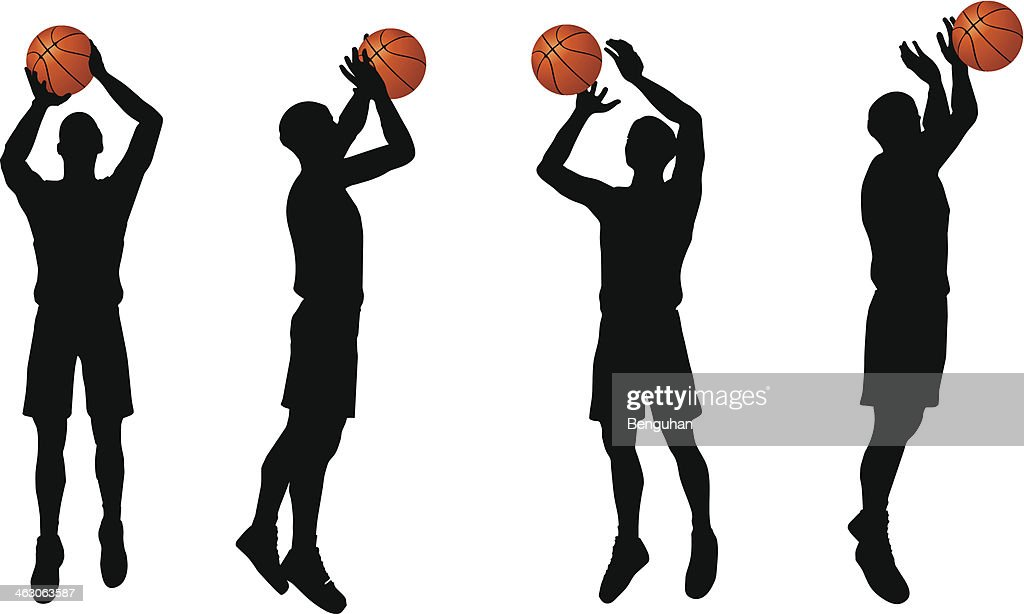 basketball players silhouette collection in shoot position
