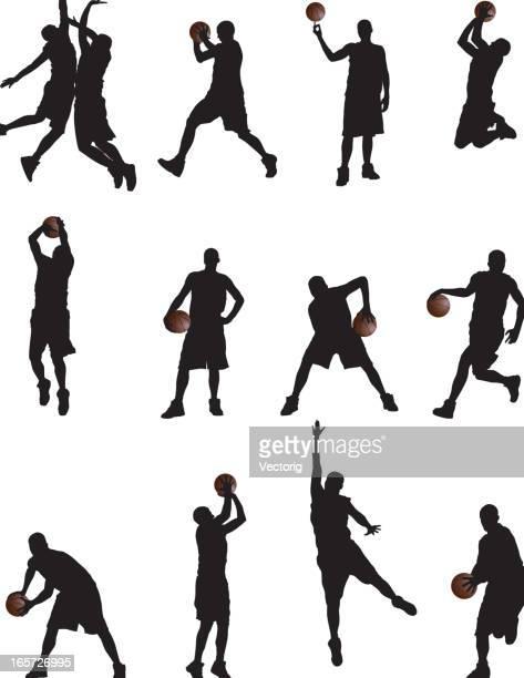ilustraciones, imágenes clip art, dibujos animados e iconos de stock de jugadores silueta de baloncesto - jugador de baloncesto