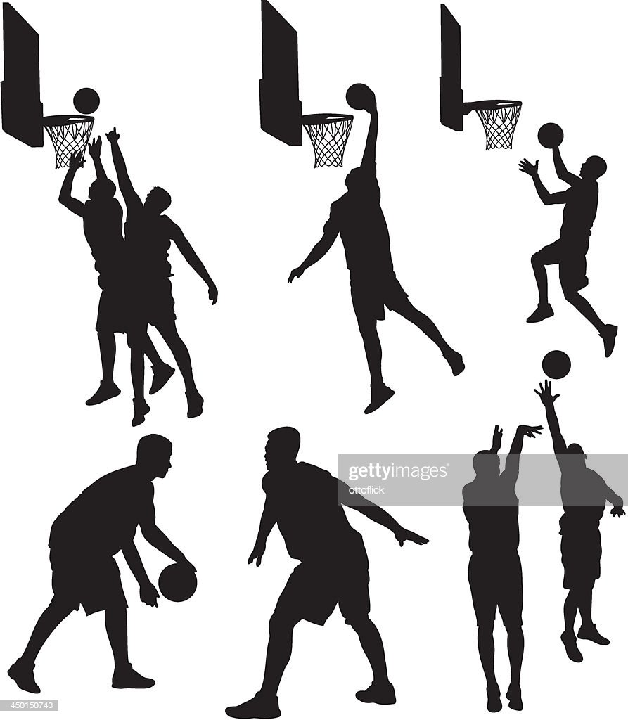 basketball players - silhouettes