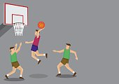Basketball Players Slam Dunk Shot Vector Illustration