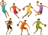 Basketball players. Sport concept. Cartoon vector illustration