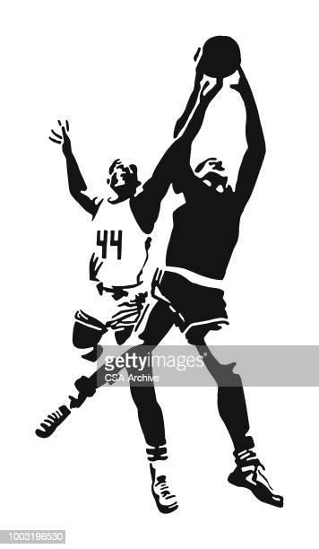 ilustraciones, imágenes clip art, dibujos animados e iconos de stock de reproductores de baloncesto - jugadordebaloncesto