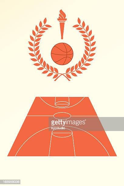 basketball poster and emblem - sport torch stock illustrations, clip art, cartoons, & icons