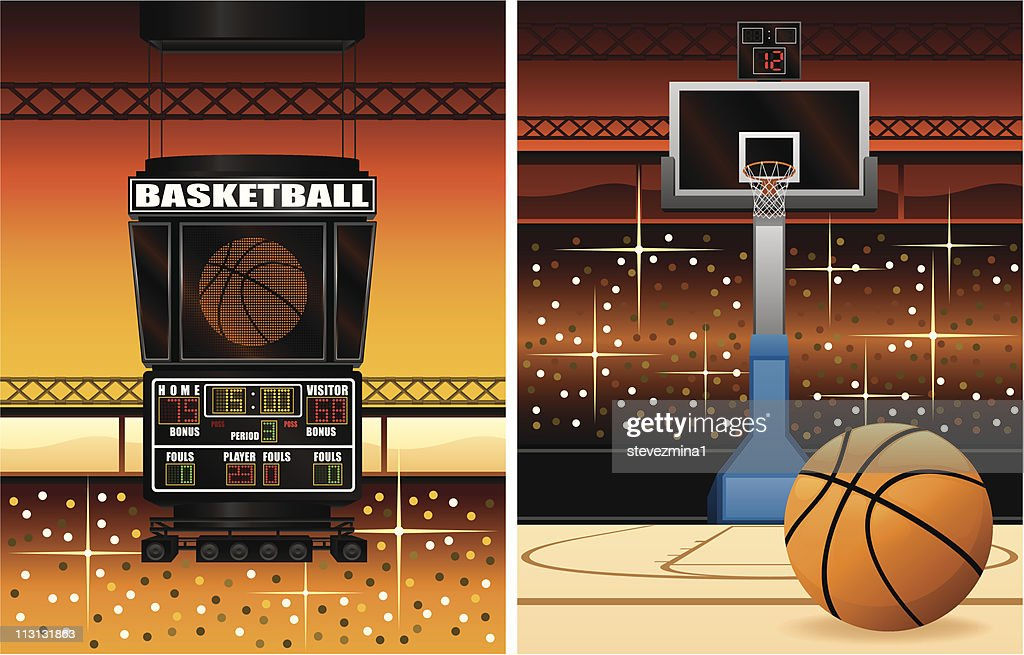 Basketball Scoreboard and Hoop