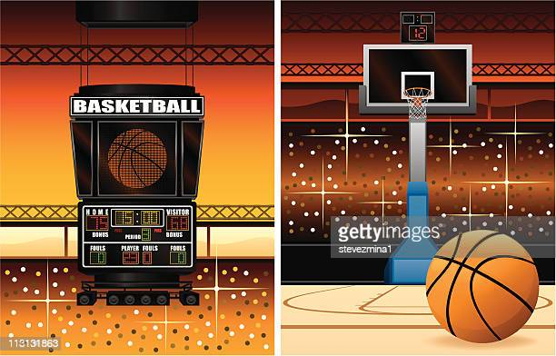 basketball scoreboard and hoop - scoring stock illustrations