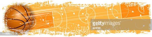 illustrations, cliparts, dessins animés et icônes de bannière de notation de basket-ball - ballon de basket