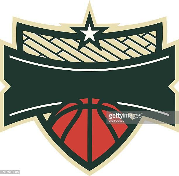 ilustraciones, imágenes clip art, dibujos animados e iconos de stock de logotipo de básquetbol shield - cancha de baloncesto