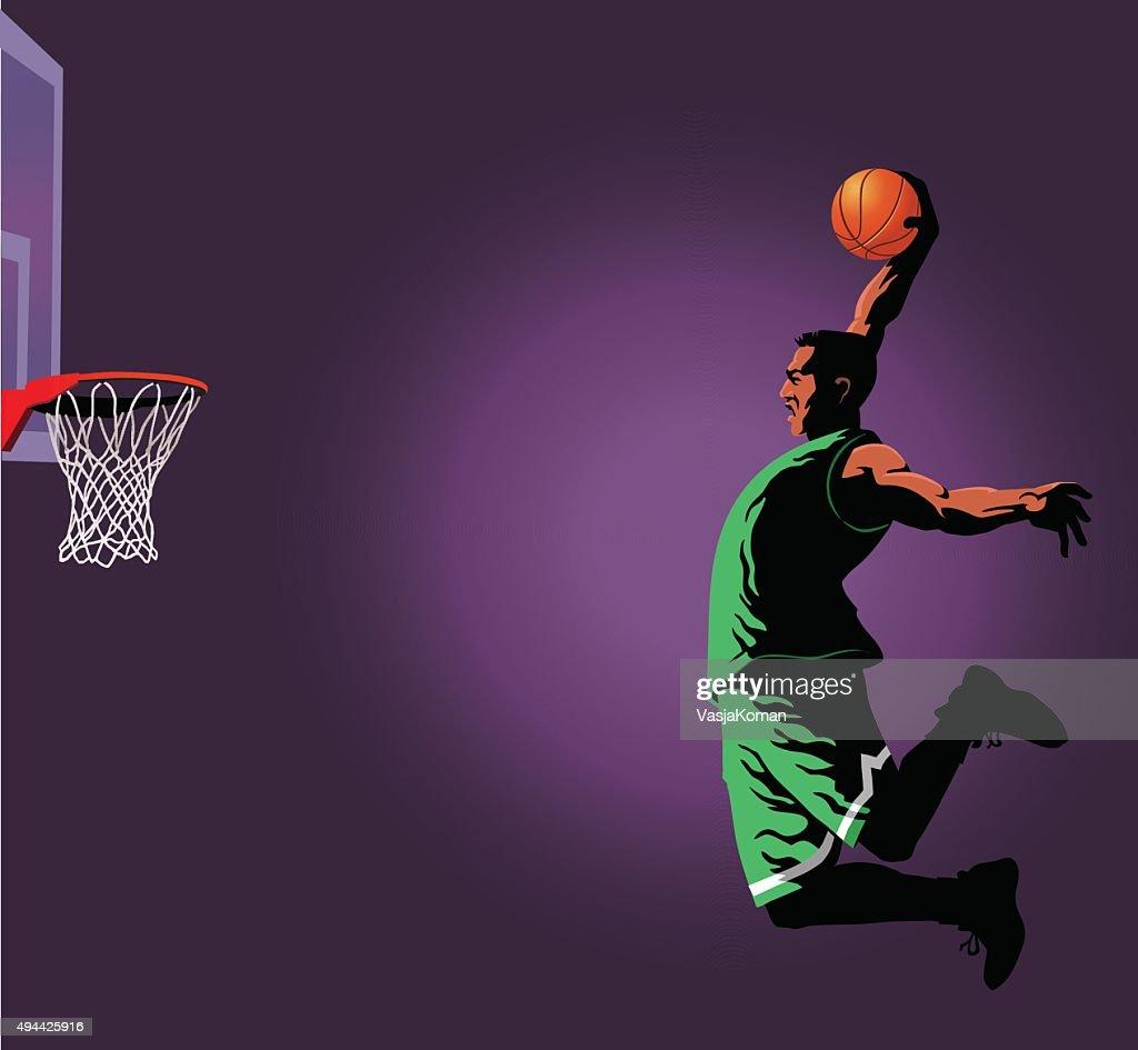 Basketball Slam Dunk Player : stock illustration