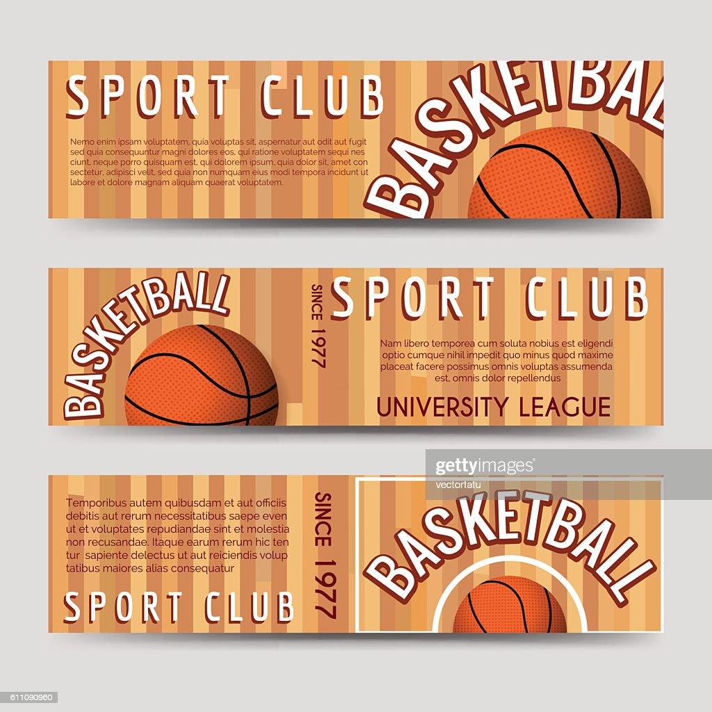 Basketball sport club horizontal banners template