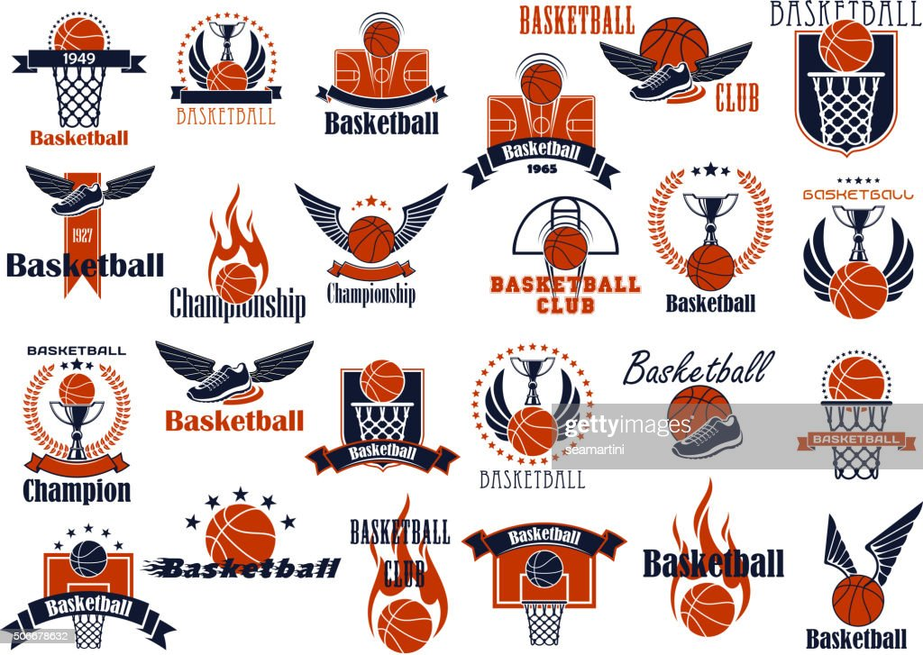 Basketball sport game orange and blue icons