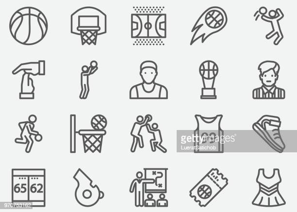 basketball sport line icons - team sport stock illustrations