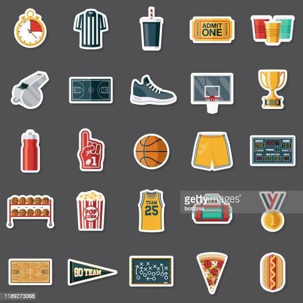 basketball sticker set - basketball sport stock illustrations