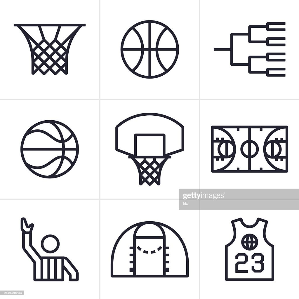 basketball symbols and icons vector art getty images