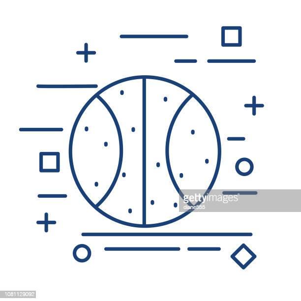 ilustraciones, imágenes clip art, dibujos animados e iconos de stock de icono del baloncesto delgada línea educación - educacion fisica