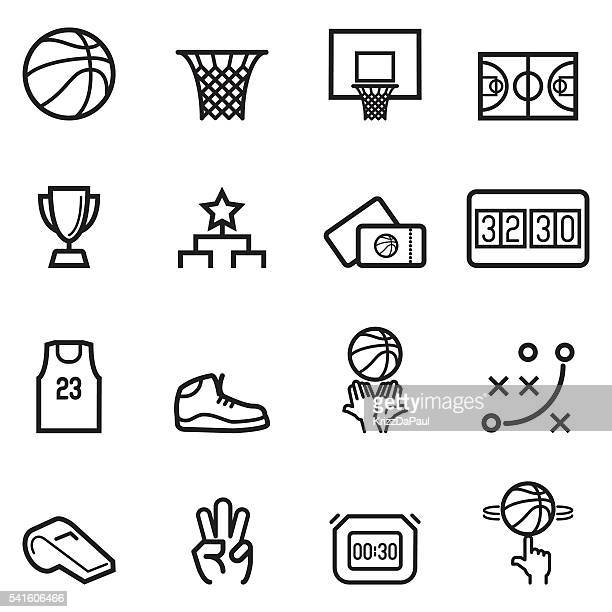 basketball thin line icons - team sport stock illustrations