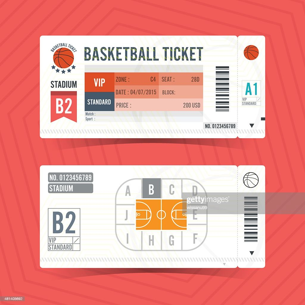Basketball Ticket Card modern element design