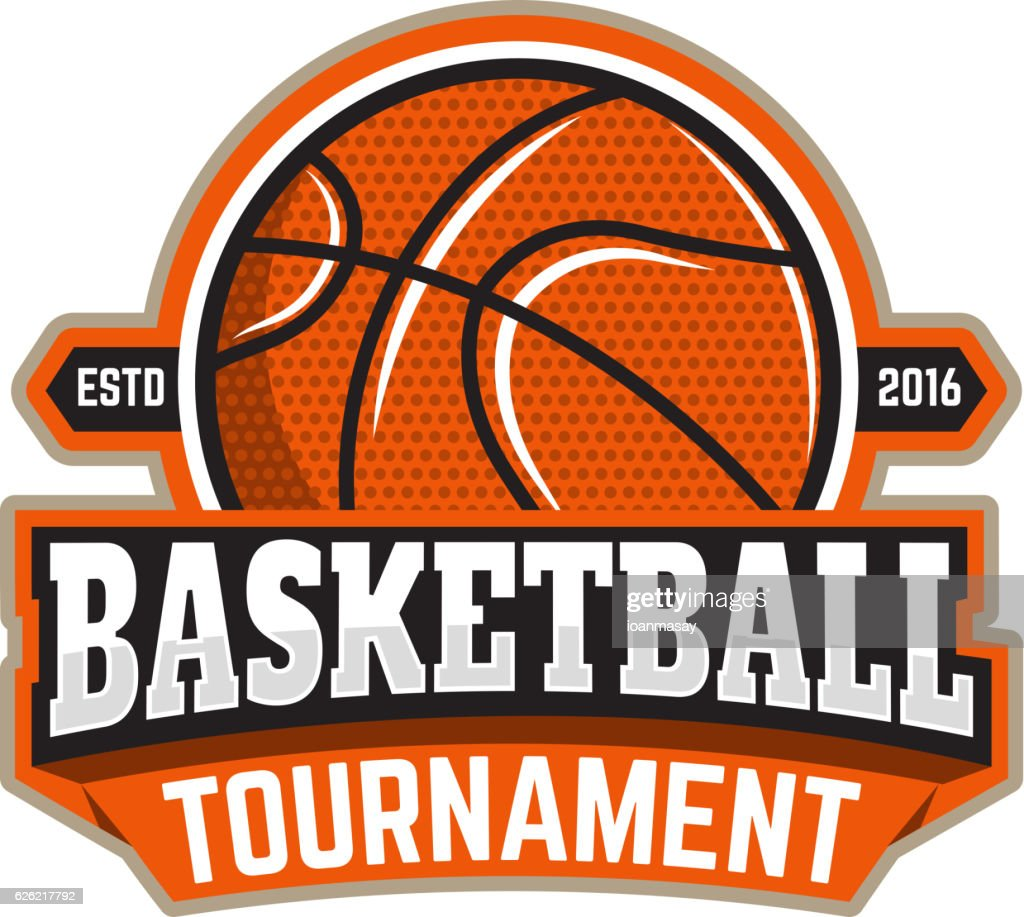 Basketball tournament. Emblem template with basketball ball.