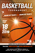 Basketball tournament poster template with sample text