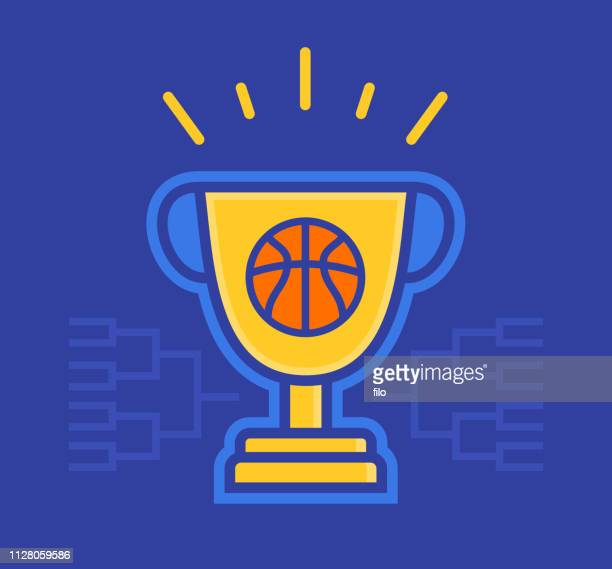 basketball tournament trophy winner - basketball competition stock illustrations