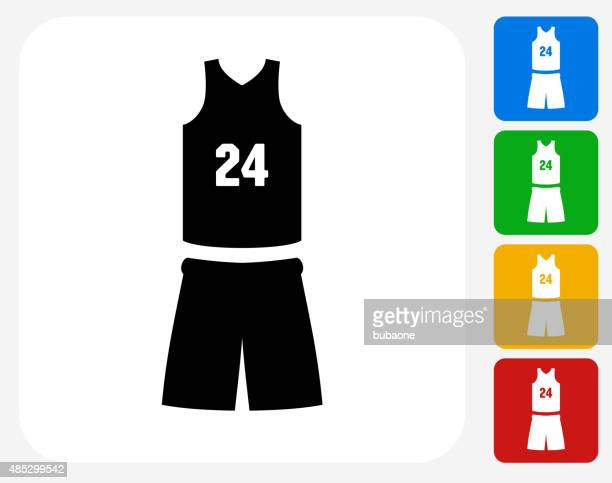 basketball uniform icon flat graphic design - sleeveless stock illustrations, clip art, cartoons, & icons