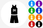 Basketball Uniform Icon on Flat Color Circle Buttons