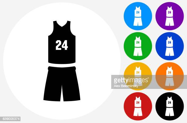 フラット カラー サークル ボタンのバスケットボールユニフォーム アイコン - バスケットボールのユニフォーム点のイラスト素材/クリップアート素材/マンガ素材/アイコン素材