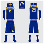 Basketball uniform or sport jersey, shorts, socks template for basketball club. Front and back view sport t-shirt design. Tank top t-shirt mock up with basketball flat symbol design. Vector.