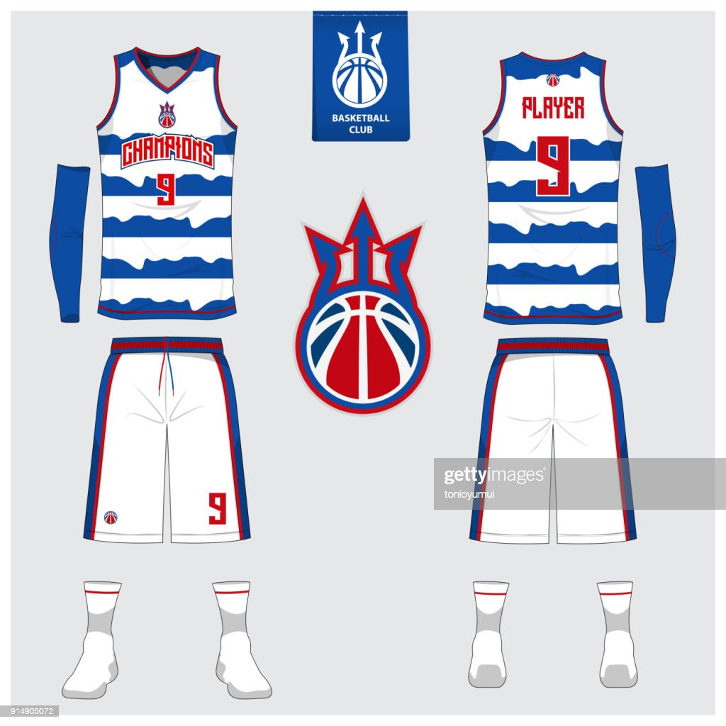 Basketball uniform or sport jersey, shorts, socks template for basketball club. Front and back view sport t-shirt design. Tank top t-shirt mock up with basketball flat  design. Vector.