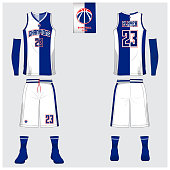 Basketball uniform template design. Tank top t-shirt mockup for basketball club. Front view and back view basketball jersey. Vector