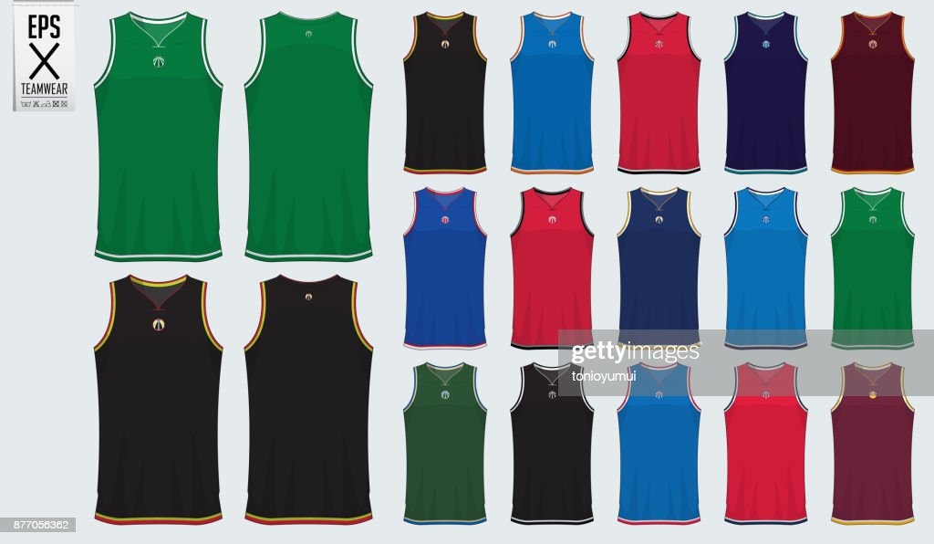Basketball uniform template design. Tank top t-shirt mockup for basketball club. Front view and back view sport jersey. Vector