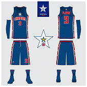 Basketball uniform template design. Tank top t-shirt mockup for basketball jersey. Front view and back view basketball shirt. Vector.