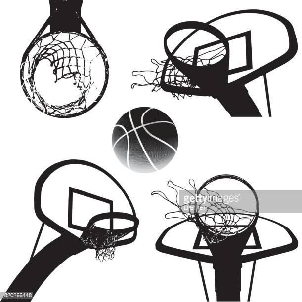 basketball - basket stock illustrations, clip art, cartoons, & icons