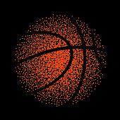 Basketball vector technology background game. Basket dots ball element activity