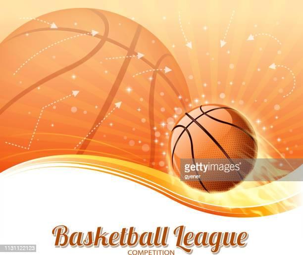 ilustraciones, imágenes clip art, dibujos animados e iconos de stock de baloncesto ganar fuego - pelota de baloncesto