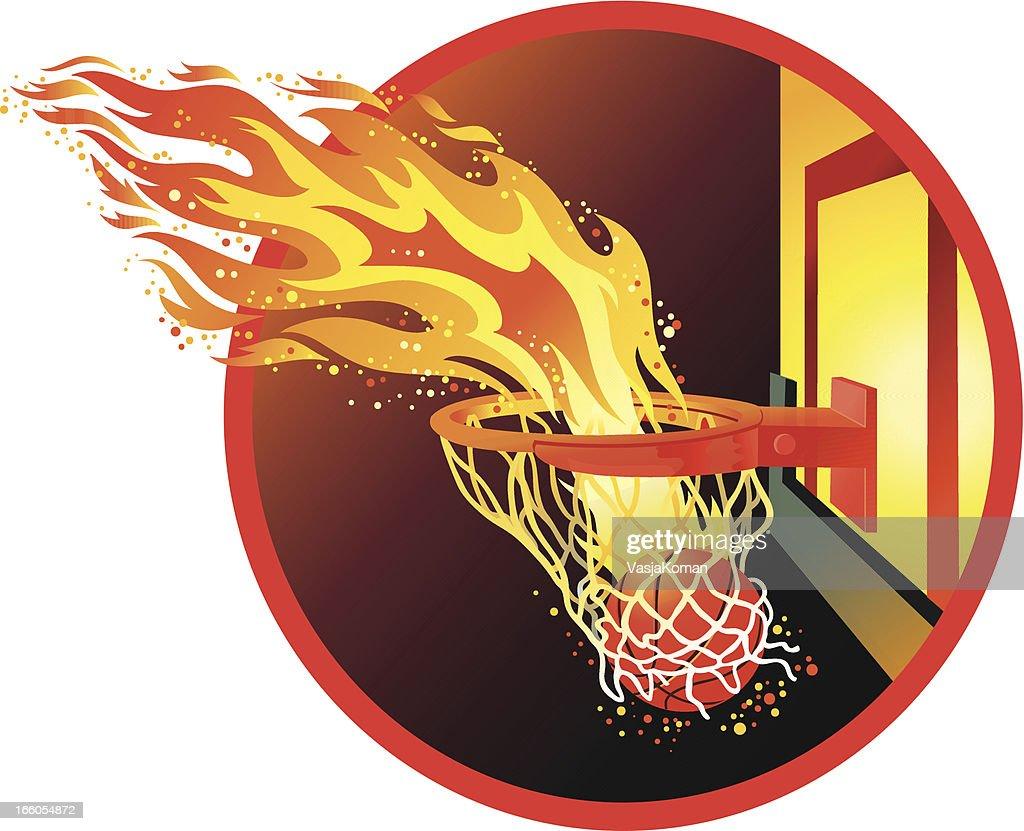 Bola de Basquete com fogo Trilho no arco : Arte vetorial