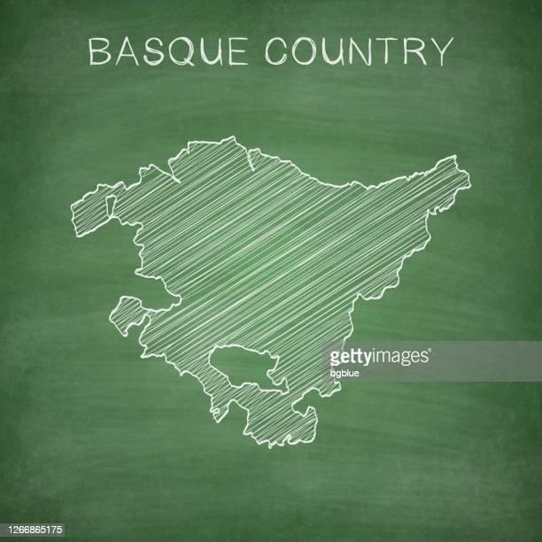 basque country map drawn on chalkboard - blackboard - en búsqueda stock illustrations