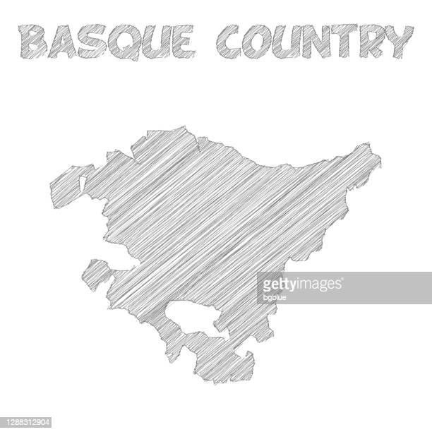 basque country map hand drawn on white background - en búsqueda stock illustrations
