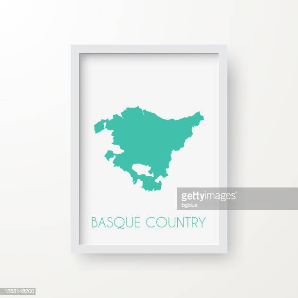 basque country map in a frame on white background - en búsqueda stock illustrations