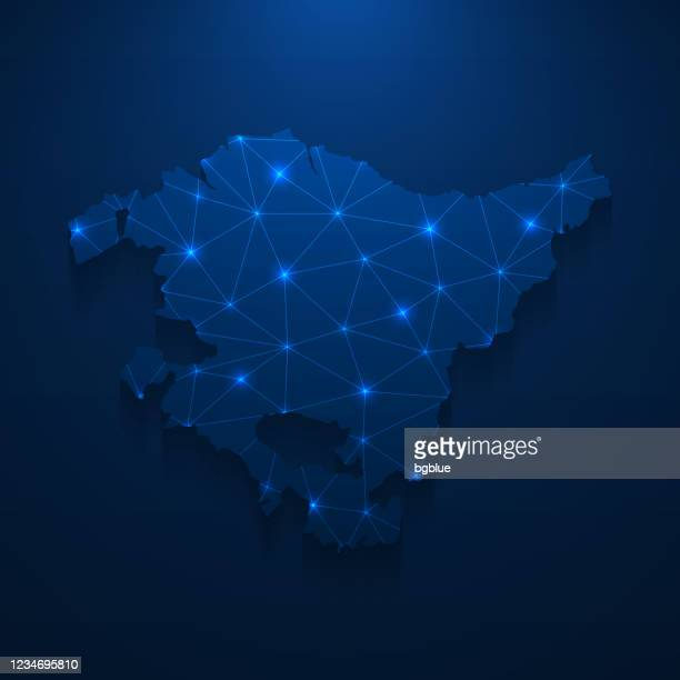 basque country map network - bright mesh on dark blue background - en búsqueda stock illustrations