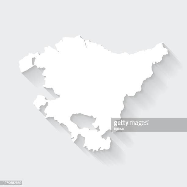 basque country map with long shadow on blank background - flat design - en búsqueda stock illustrations