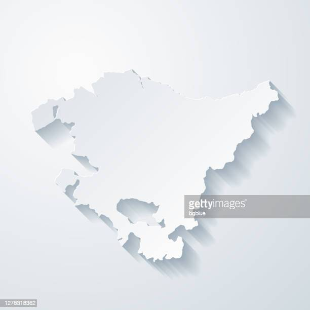 basque country map with paper cut effect on blank background - en búsqueda stock illustrations