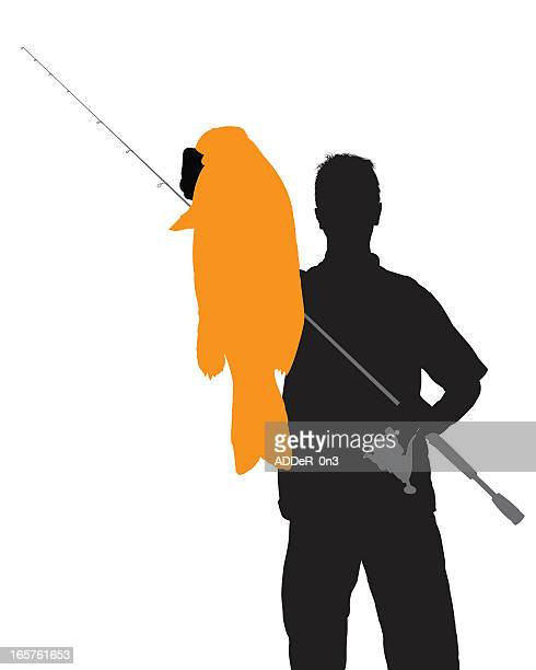 bass fisherman silhouette - bass fishing stock illustrations